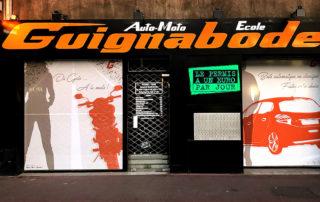 vitrine auto école Guignabodet à Toulon
